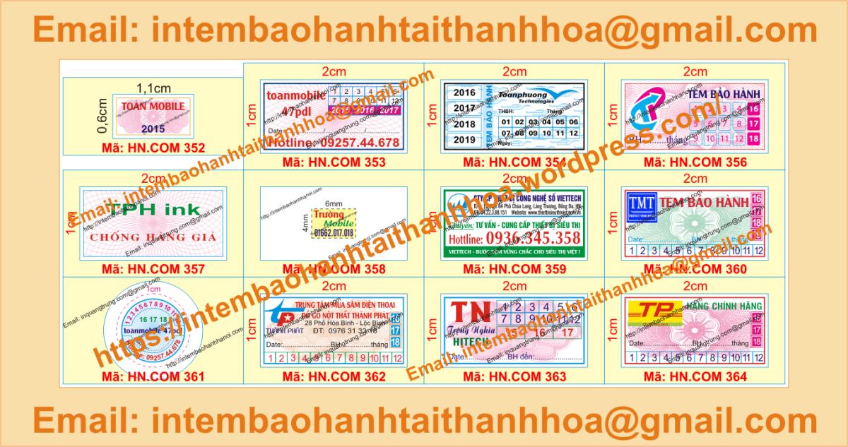 In tem bảo hành giá rẻ tại ThanhHóa